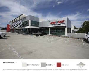 Colours include red for this commercial building