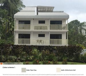 Tropical apartment block with new colour scheme