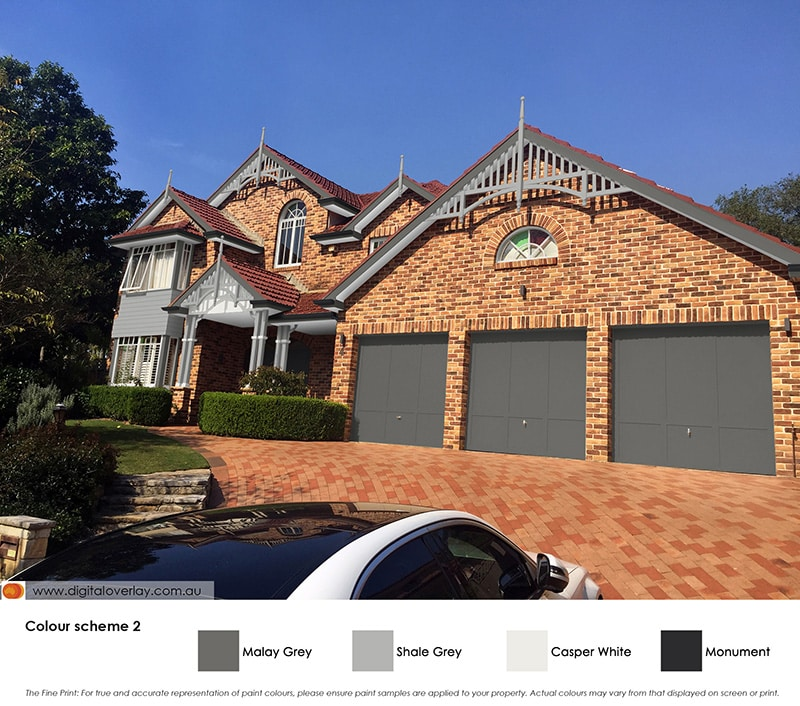 Brick house with timber features painted in Malay Grey, Shale Grey, Casper White and Monument.