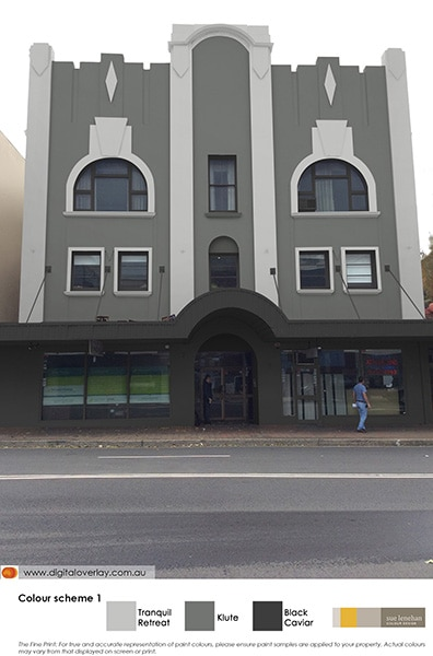 Overlay of a grey and white colour scheme on an Art Deco building