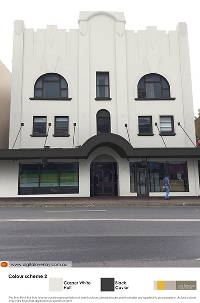 Overlay of a white and black colour scheme on an Art Deco building