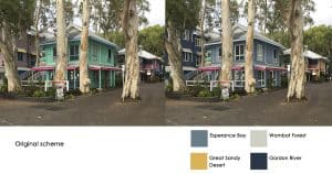 digital overlay of new colour scheme on cairns resort village