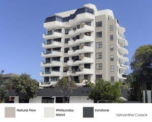 Strata multi-res property colour scheme of beige, white and dark grey.