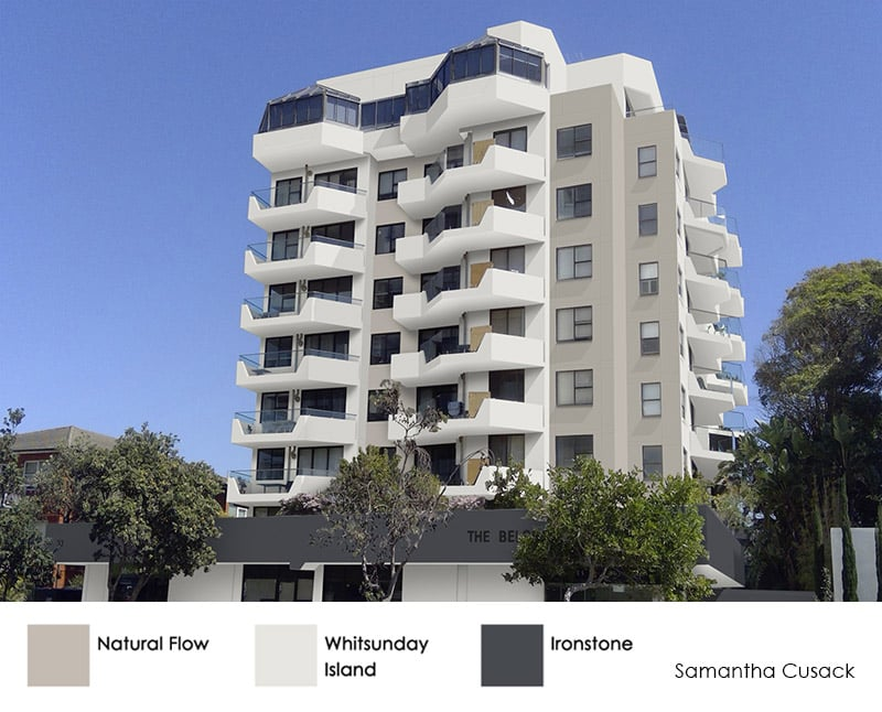 Strata multi-res property colour scheme of beige, white and dark grey.
