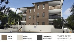 Until block apartments in beige-white with mocha feature wall and charcoal colour scheme