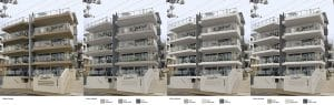 Strata Property in original colour scheme and digital overlays of new colour schemes